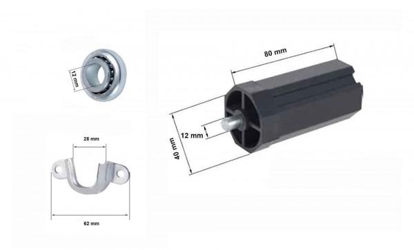 Mini-Rolladenlager-Set SW 40 - Walzenkapsel Kugellager Lagerschale