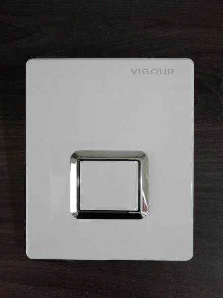 Urinal-Abdeckplatte TEES weiss chrom f.handbetätigte pneum.UP-Spülung VIGOUR