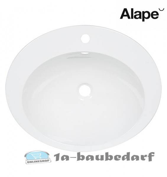 Einbauwaschtisch Waschbecken Oval mit Inkl. Befestigungsset und Überlaufgarnitur Alape