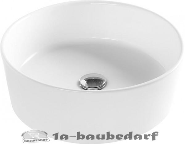 """Aufsatz-Waschtisch Waschbecken aus Keramik Rund """"HAPPY HOUR"""" ohne Hahnloch"""