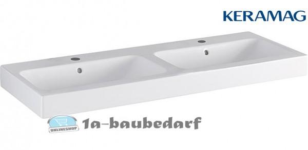 """Aufsatz Doppelwaschtisch Waschbecken """"Icon"""" aus Keramik mit 2 Hahnlöchern KERAMAG"""