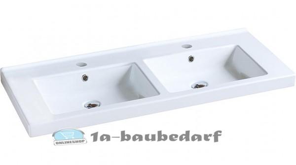 """Doppelwaschtisch Wandhängende Waschbecken aus Keramik """"TRENDY"""" mit 2 Hahnlöchern"""