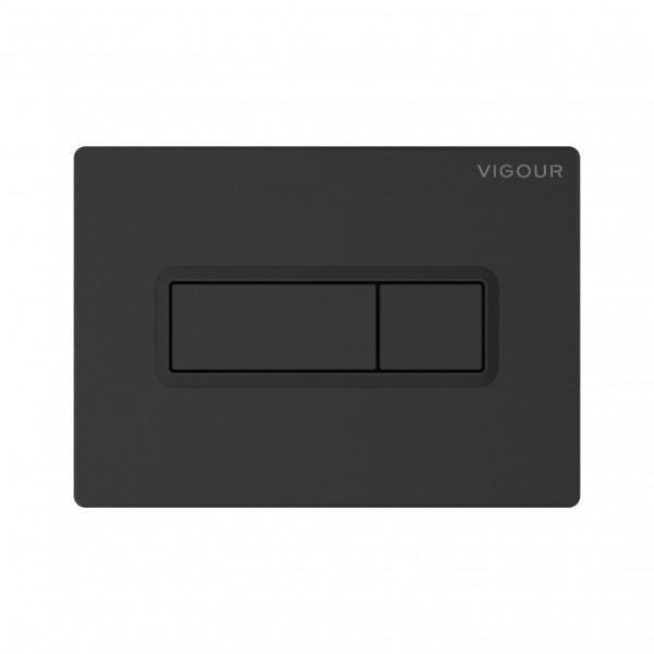Vigour TEES matt-schwarz Betätigungsplatte für 2-Mengen-Spültechnik