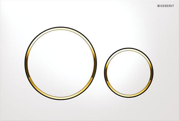 Geberit Sigma 20 weiß-gold Betätigungsplatte